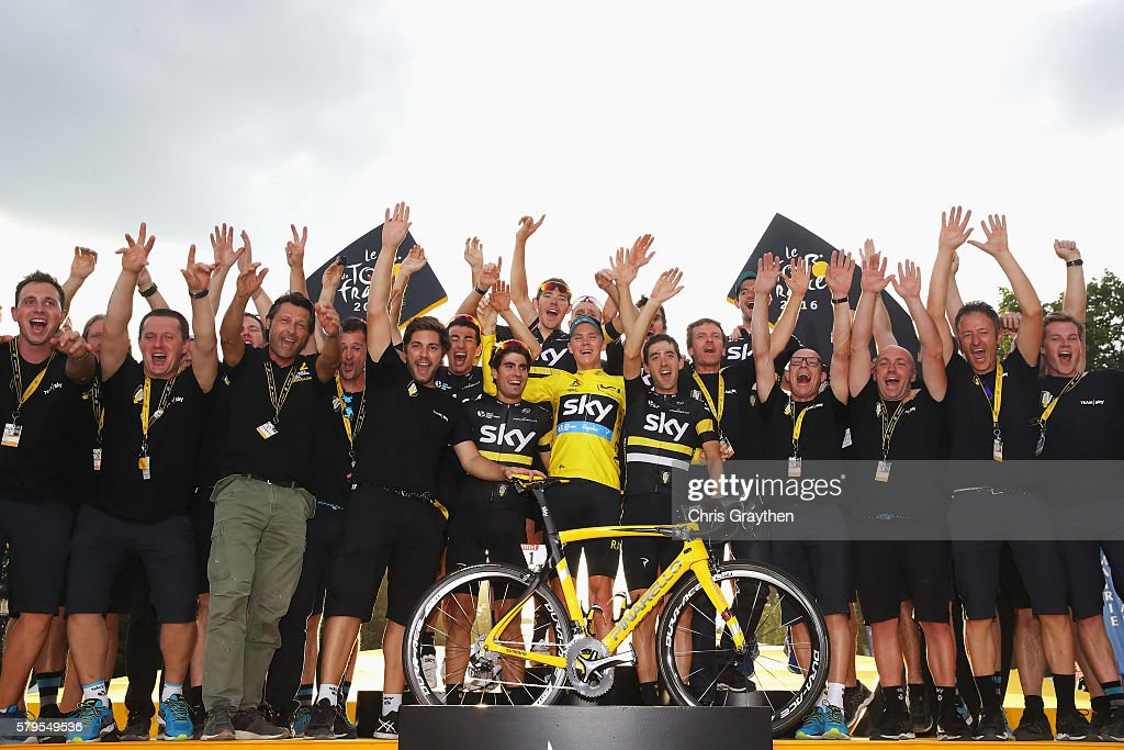 Team Sky staff and riders celebrate following stage twenty one of the 2016 Le Tour de France, from Chantilly to Paris Champs-Elysees on July 24, 2016 in Paris, France.
