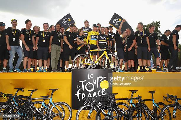 Team Sky staff and riders celebrate following stage twenty one of the 2016 Le Tour de France from Chantilly to Paris ChampsElysees on July 24 2016 in...