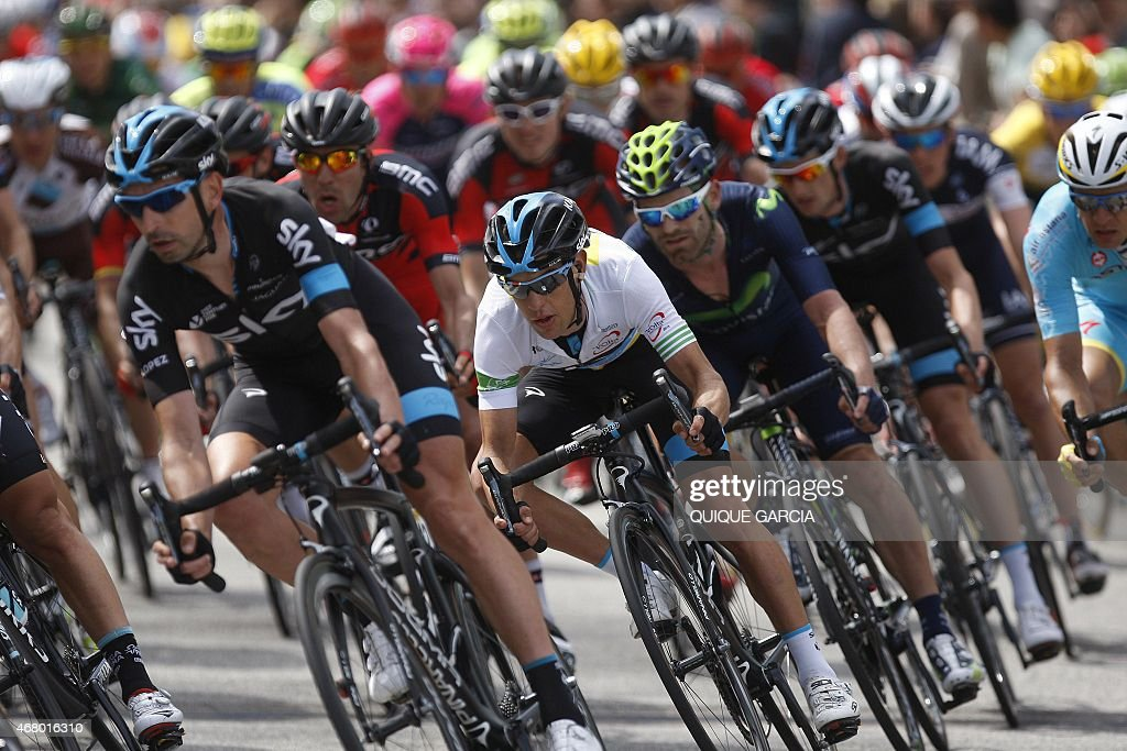 Team Sky's Australian rider Richie Porte and Team Movistar's Spanish Rider Alejandro Valverde race during the last stage of the Tour of Catalonia...