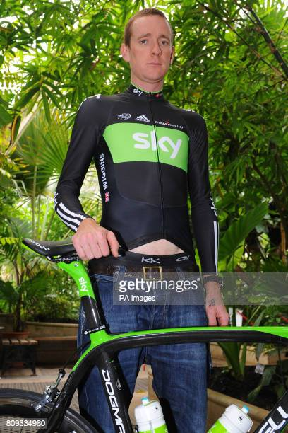 Team Sky's Bradley Wiggins during the Team Sky photocall for the British riders selected for the Tour de France at Kew Royal Botanic Gardens in London