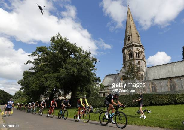 Team Sky's British rider Ian Stannard leads a group past St Barnabas Church on Ranmore Common during the 'Prudential RideLondonSurrey Classic 2017'...