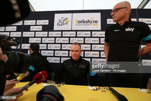 Team Sky's Chris Froome and Sir Dave Brailsford during a press conference in Leeds