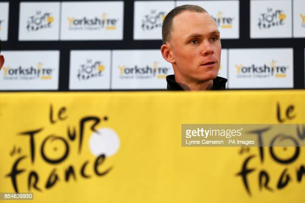 Team Sky's Chris Froome during a press conference in Leeds