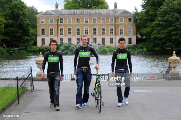 Team Sky's Geraint Thomas Bradley Wiggins and Ben Swift during the Team Sky photocall for the British riders selected for the Tour de France at Kew...