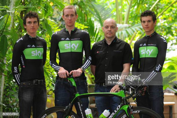 Team Sky's Geraint Thomas Bradley Wiggins general manager Dave Brailsford and Ben Swift during the Team Sky photocall for the British riders selected...