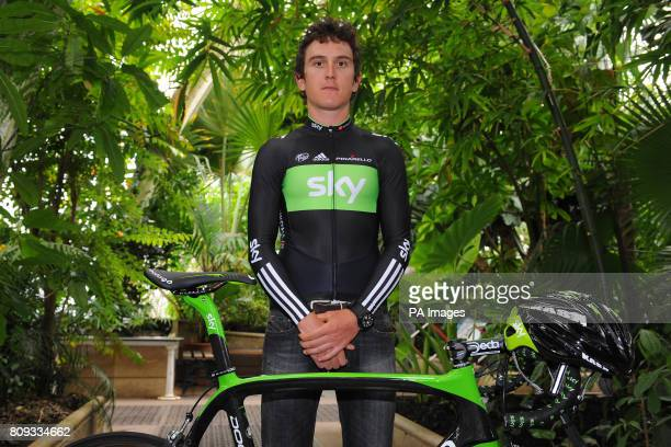 Team Sky's Geraint Thomas during the Team Sky photocall for the British riders selected for the Tour de France at Kew Royal Botanic Gardens in London