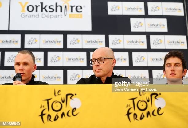 Team Sky's Sir Dave Brailsford Chris Froome and Geraint Thomas during a press conference in Leeds