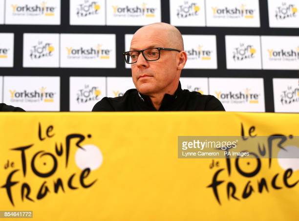 Team Sky's Sir Dave Brailsford during a press conference in Leeds