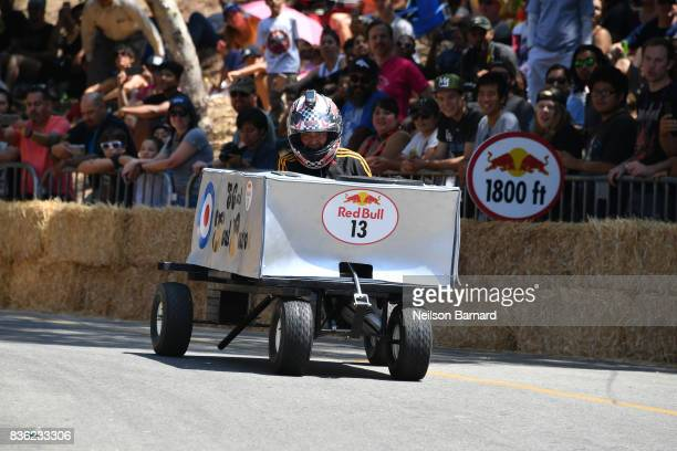 Team SoCal Soul Patrol participate in the Red Bull Soapbox Race 2017 at Elysian Park on August 20 2017 in Los Angeles California Seventy teams...