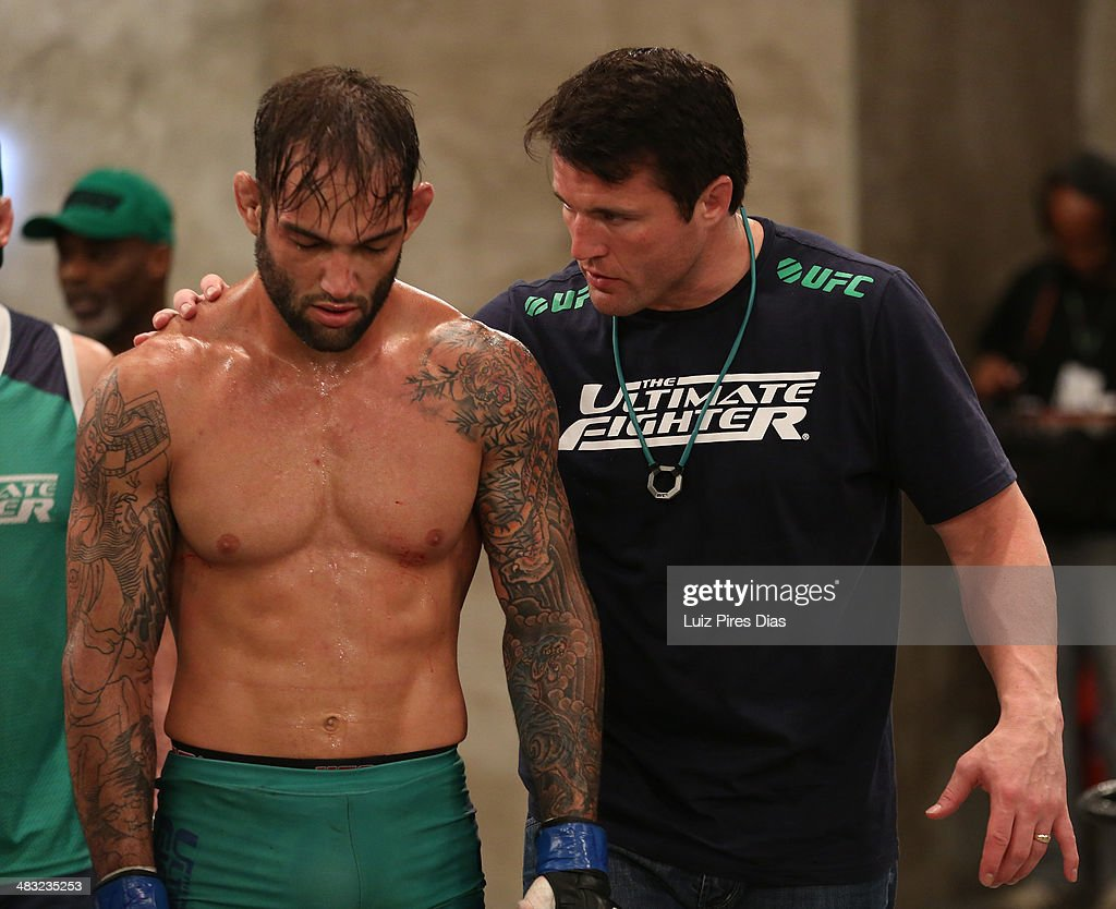 Team Sonnen fighter Guilherme de Vasconcelos is consoled by coach <a gi-track='captionPersonalityLinkClicked' href=/galleries/search?phrase=Chael+Sonnen&family=editorial&specificpeople=5434559 ng-click='$event.stopPropagation()'>Chael Sonnen</a> after Guilherme was defeated by Team Wanderlei fighter Ricardo Abreu in their middleweight fight during season three of The Ultimate Fighter Brazil on January 24, 2014 in Sao Paulo, Brazil.
