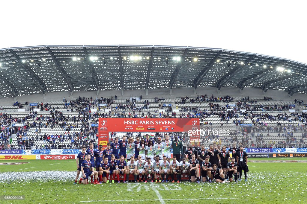Team South Africa, Scotland and New Zealand pose after the HSBC Paris sevens on May 14, 2017 in Paris, France.