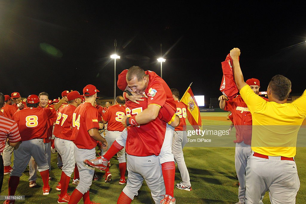 Team Spain celebrates on the field after defeating Team Israel in game 6 of the Qualifying Round of the World Baseball Classic at Roger Dean Stadium on September 23, 2012 in Jupiter, Florida.