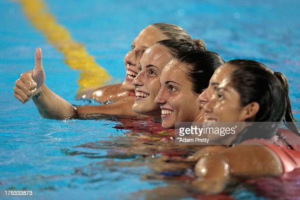 Team Spain celebrates winning the Women's Water Polo Gold Medal Match between Australia and Spain on day fourteen of the 15th FINA World...