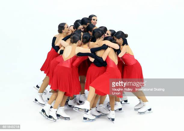 Team Spain perform in the Short Program during the ISU World Junior Synchronized Skating Championships at Hershey Centre on March 10 2017 in...
