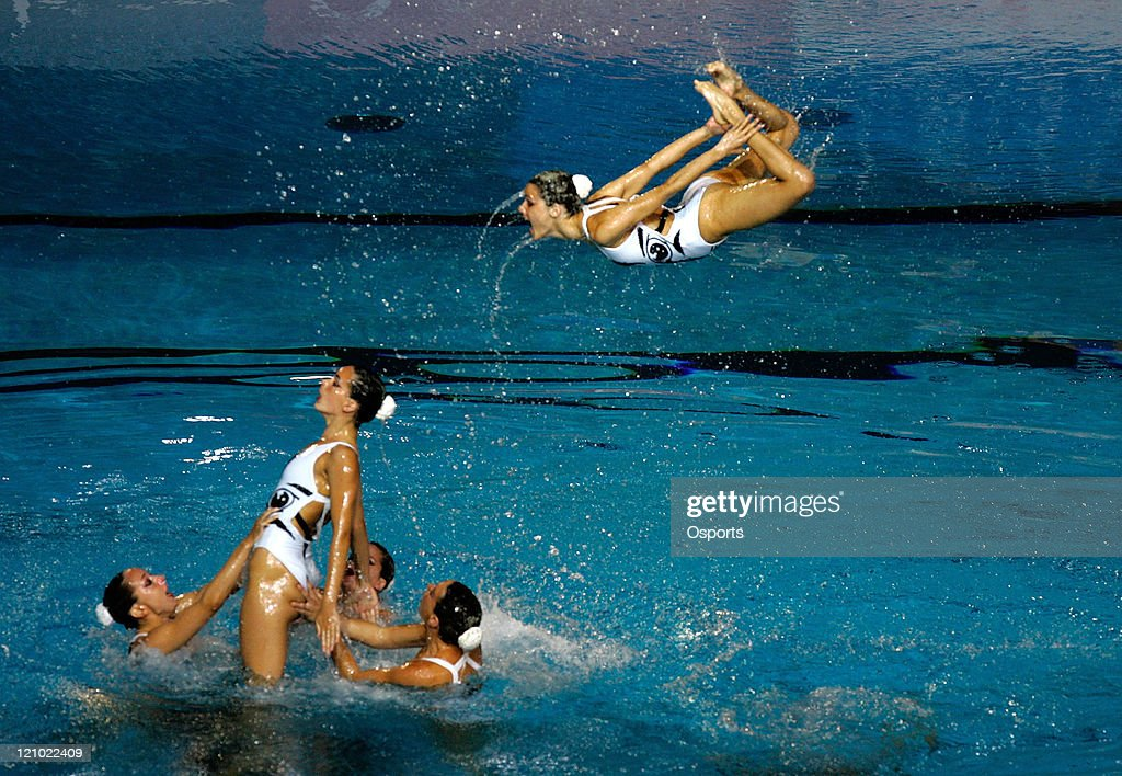 Team Spain performs in the Free Combination Routine Final at the synchronized swimming event during the 12th FINA World Championships at the Rod...