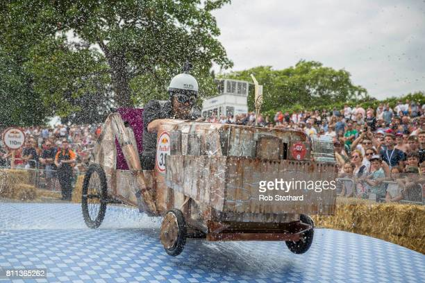 Team Stein Co races down the course during the Red Bull Soapbox Race at Alexandra Palace on July 9 2017 in London England The event in which amateur...
