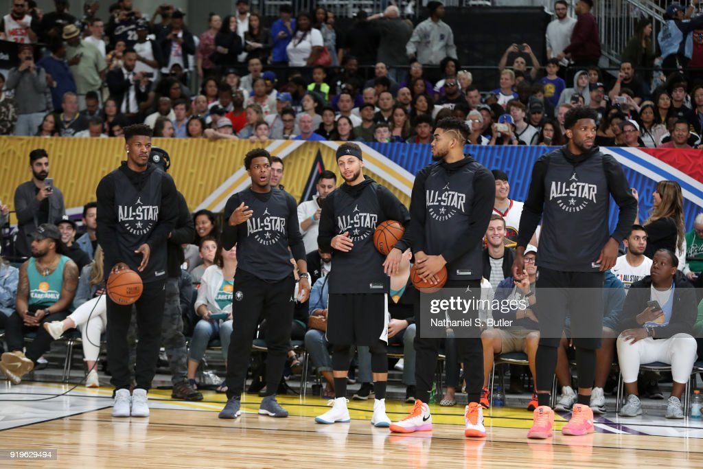 Team Stephen participates in the NBA All-Star practice as part of the 2018 NBA All-Star Weekend on February 17, 2018 at the Verizon Up Arena at the LACC in Los Angeles, California.