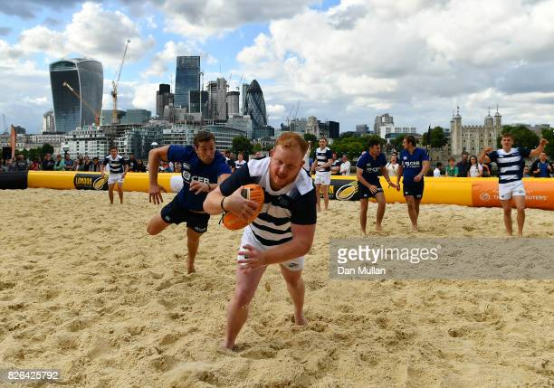 Team Subby compete against Gartner during day one of the London Beach Rugby 2017 at Potters Field Park on August 4 2017 in London England
