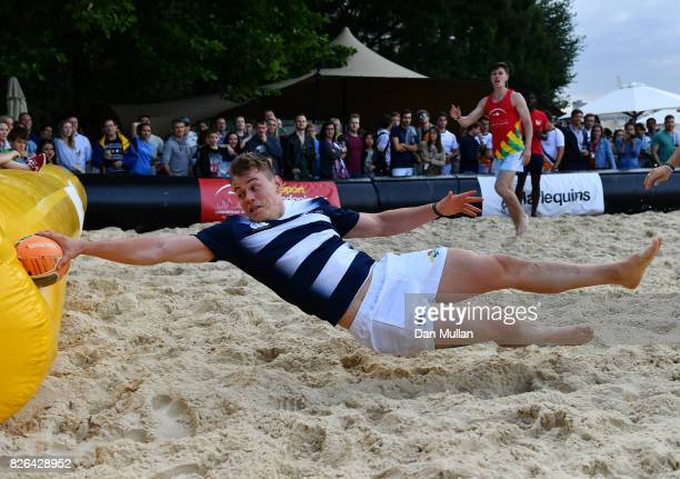 Team Subby compete against London Air Ambulance during day one of the London Beach Rugby 2017 at Potters Field Park on August 4 2017 in London England
