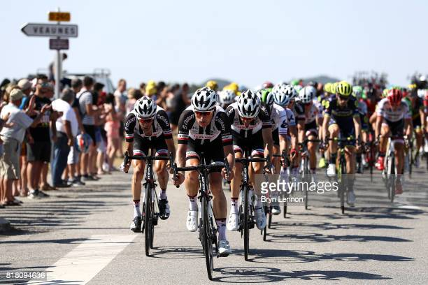 Team Sunweb lead the peloton on during stage sixteen of the 2017 Tur de France a km road stage from Le Puy enVelay to RomanssurIsere on July 18 2017...