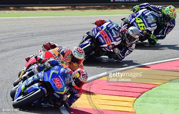 Team Suzuki Ecstar's Spanish rider Maverick Vinales Repsol Honda Team's Spanish rider Marc Marquez Movistar Yamaha MotoGP's Spanish rider Jorge...