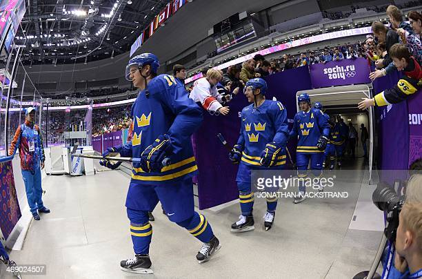 Team Sweden arrives for the Men's Ice Hockey Group B match Czech Republic vs Sweden at the Bolshoy Ice Dome on February 12 2014 at the Sochi Winter...