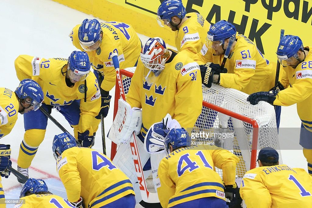 team Sweden arround Anders Nilsson before the 2014 IIHF World Championship between Sweden and Norway at Chizhovka arena on May 13, 2014 in Minsk, Belarus.