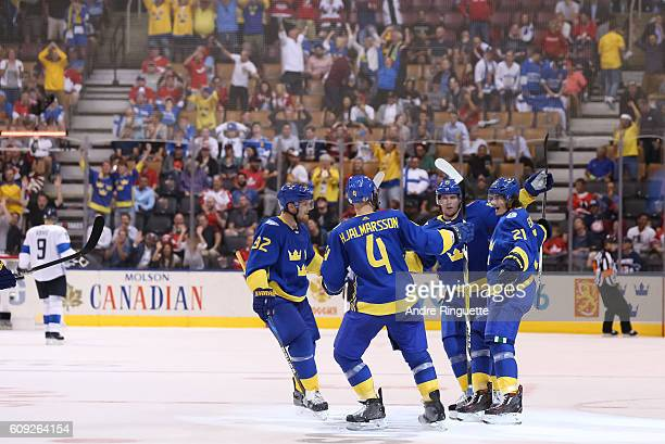 Team Sweden celebrates after a 20 shutout win over Team Finland during the World Cup of Hockey 2016 at Air Canada Centre on September 20 2016 in...