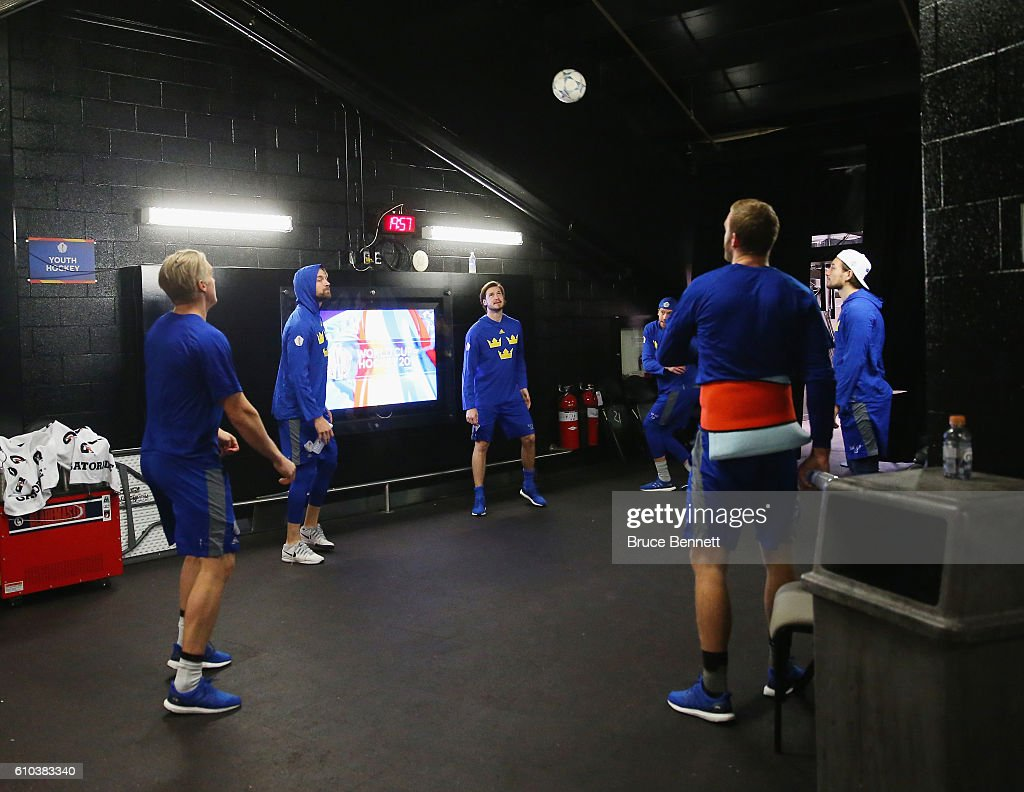 Team Sweden warms up prior to their game against Team Europe at the semifinal game during the World Cup of Hockey tournament at the Air Canada Centre on September 25, 2016 in Toronto, Canada.