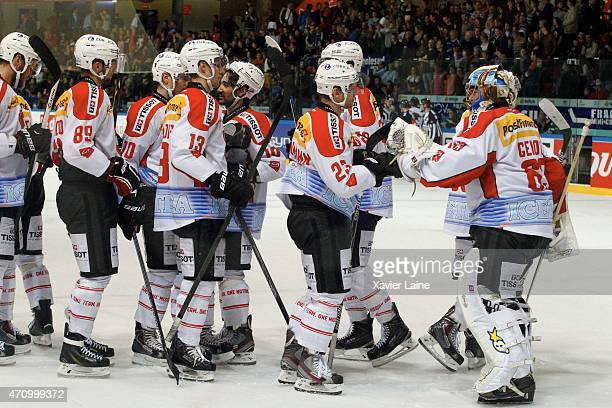 Team Switzerland celebrate the victory during the International Friendly Match between France and Switzerland at Pole Sud on April 24 2015 in...