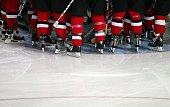 Team Switzerland huddles before the start of the men's ice hockey Preliminary Round Group A match against Canada during Day 8 of the Turin 2006...