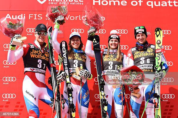 Team Switzerland take 1st place during the Audi FIS Alpine Ski World Cup Finals Nations Team Event on March 20 2015 in Meribel France