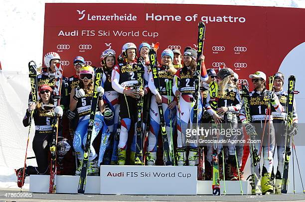Team Switzerland takes 1st place Team USA takes 2nd place Team Austria takes 3rd place during the Audi FIS Alpine Ski World Cup Nation's Team Event...