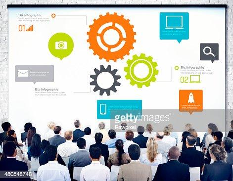 Equipo de trabajo en equipo Cog funcionalidad tecnología, concepto de negocios : Foto de stock
