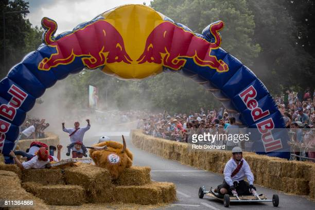 Team The Badaboom Beast take part in the The Red Bull Soapbox Race at Alexandra Palace on July 9 2017 in London England The event in which amateur...