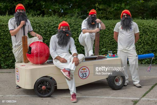 Team The Bearded Bat pose for a photograph in the pits ahead of The Red Bull Soapbox Race at Alexandra Palace on July 9 2017 in London England The...