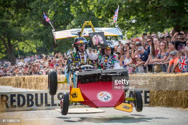 Team The PieOnEars take part in the The Red Bull Soapbox Race at Alexandra Palace on July 9 2017 in London England The event in which amateur drivers...