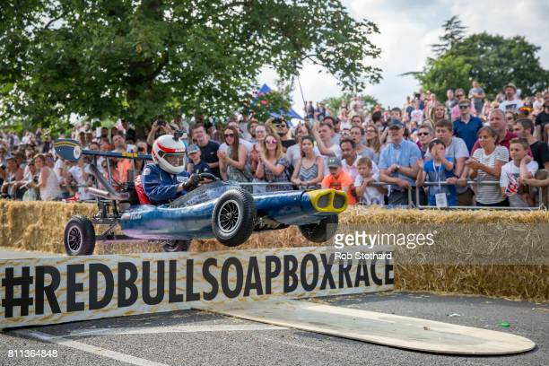Team The Rat Pack take part in the The Red Bull Soapbox Race at Alexandra Palace on July 9 2017 in London England The event in which amateur drivers...