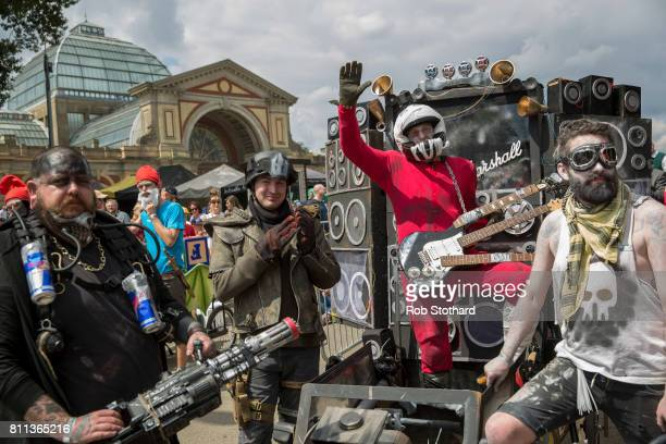 Team The Road Warriors Special wait to race in the The Red Bull Soapbox Race at Alexandra Palace on July 9 2017 in London England The event in which...