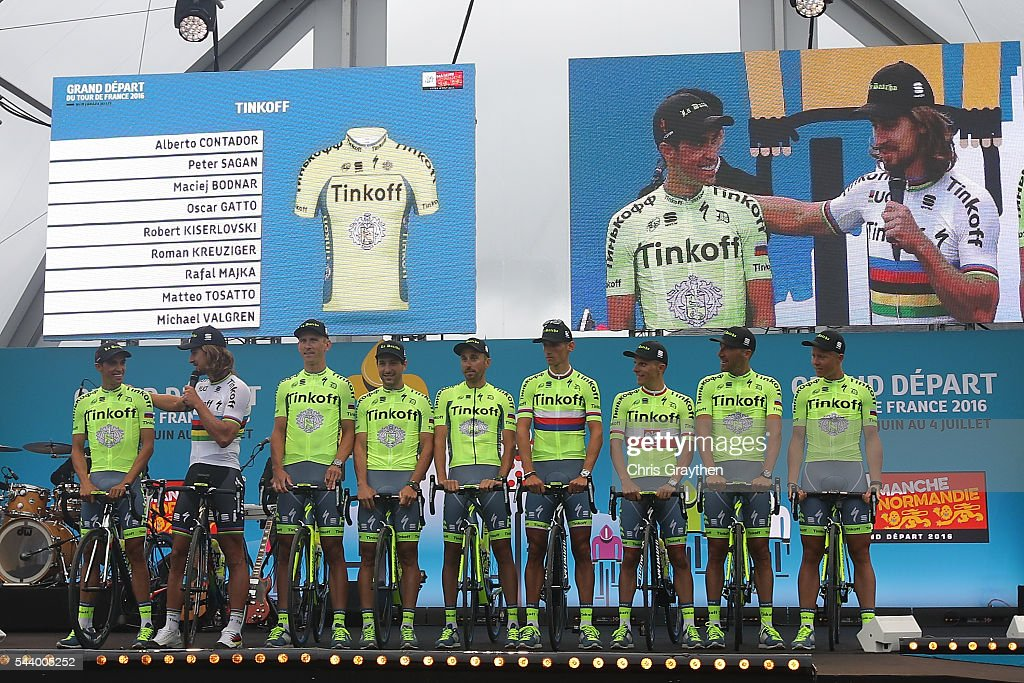 Team Tinkoff is introduced during the team presentation ahead of the 2016 Le Tour de France on June 30, 2016 in Sainte-Mere-Eglise, France.