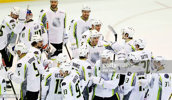 Team Toews celebrates their 17 to 12 win over Team Foligno during the 2015 Honda NHL AllStar Game at Nationwide Arena on January 25 2015 in Columbus...
