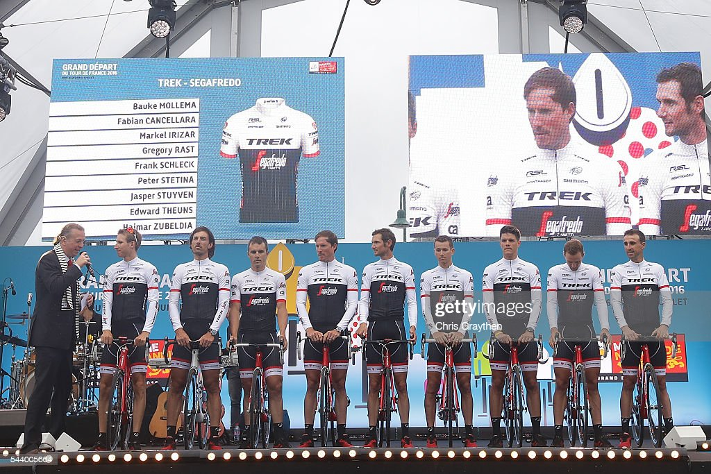 Team Trek-Segafredo is introduced during the team presentation ahead of the 2016 Le Tour de France on June 30, 2016 in Sainte-Mere-Eglise, France.