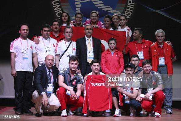 Team Turkey pose for a family picture iduring day six of the 2013 Junior Weightlifting World Championship at Maria Angola Convention Center on May 09...