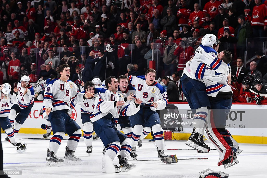 Team United States celebrate as they win gold against Team Canada during the 2017 IIHF World Junior Championship gold medal game at the Bell Centre on January 5, 2017 in Montreal, Quebec, Canada. Team United States defeats Team Canada 5-4 in a shootout and wins the gold medal round.