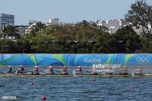 Team United States compete in the during the Women's Eight Final A on Day 8 of the Rio 2016 Olympic Games at the Lagoa Stadium on August 13 2016 in...