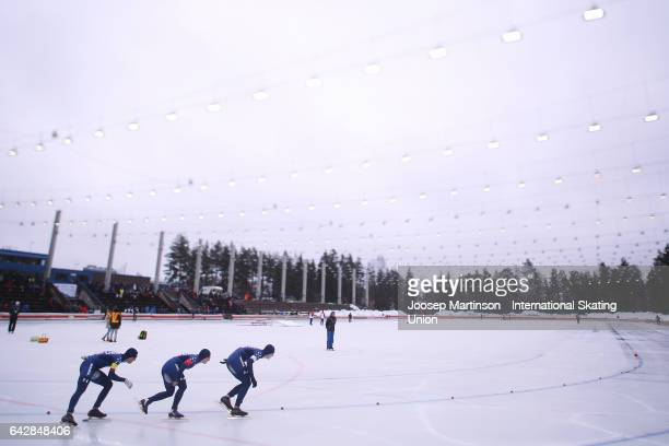 Team United States compete in the men's team pursuit during day three of the World Junior Speed Skating Championships at Oulunkyla Sports Park on...