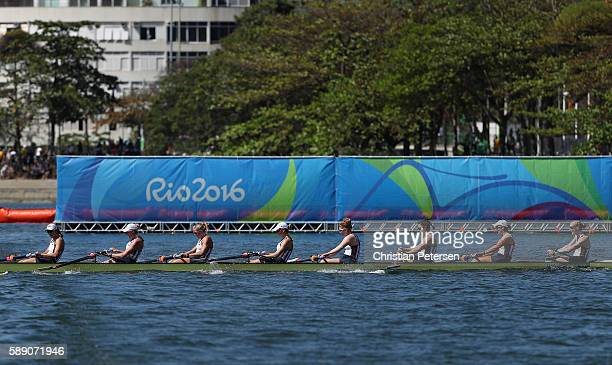 Team United States crosses the finish line to win the gold medal in the during the Women's Eight Final A on Day 8 of the Rio 2016 Olympic Games at...