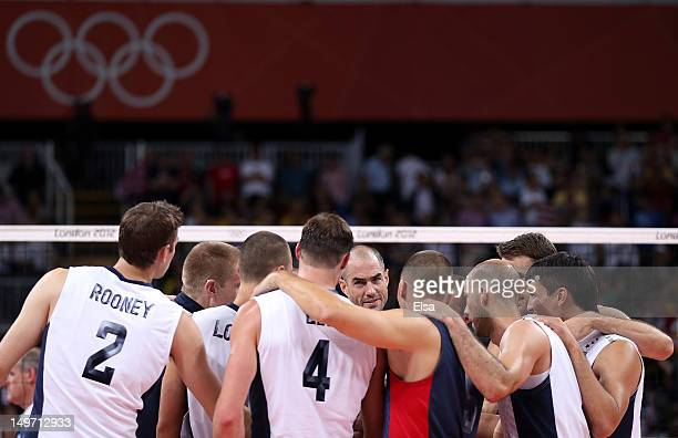 Team United States huddles after their win over Brazil during Men's Volleyball on Day 6 of the London 2012 Olympic Games at Earls Court on August 2...