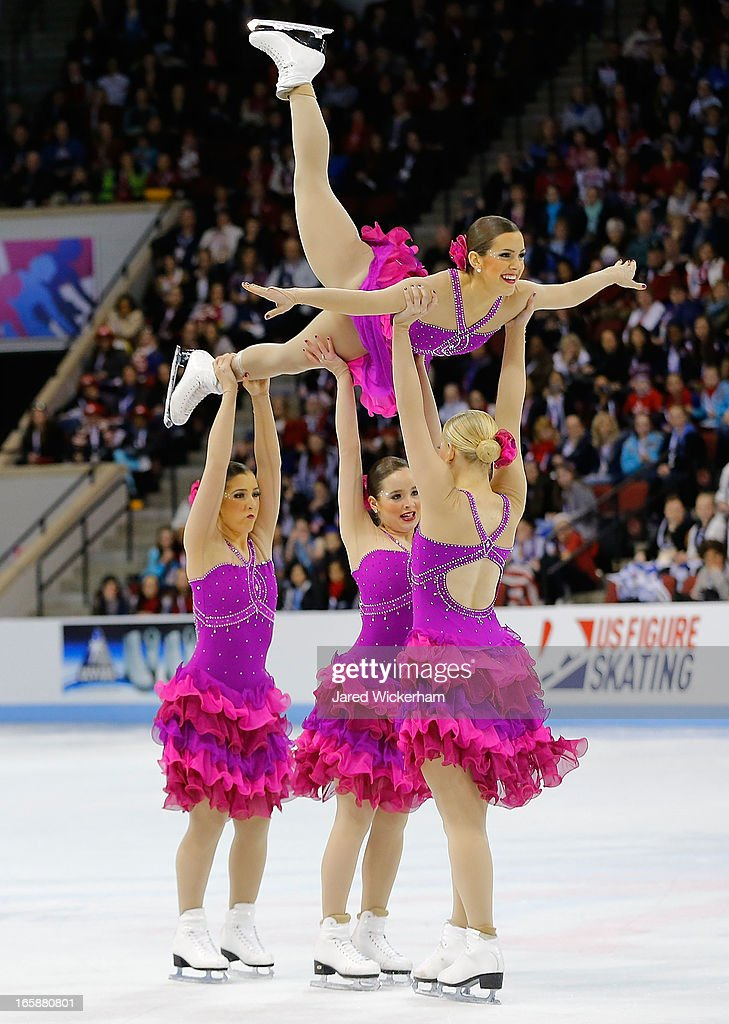 Team United States of America 1 performs during the free skating competition of the ISU World Synchronized Skating Championships at Agganis Arena on April 6, 2013 in Boston, Massachusetts.