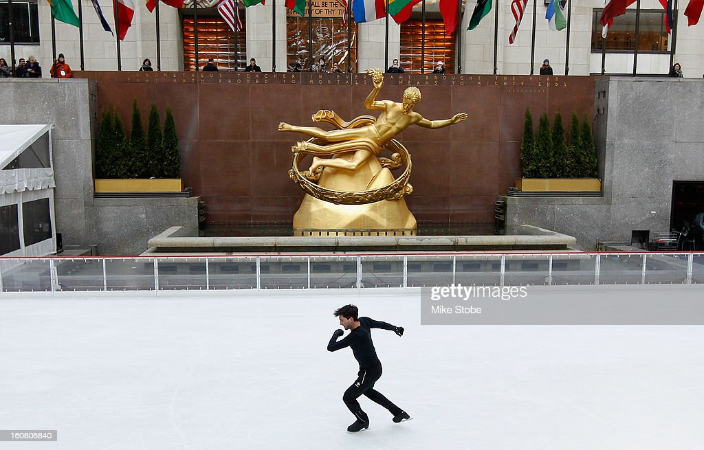 Team USA 2014 Olympic figure skating hopeful <a gi-track='captionPersonalityLinkClicked' href=/galleries/search?phrase=Evan+Lysacek&family=editorial&specificpeople=243028 ng-click='$event.stopPropagation()'>Evan Lysacek</a> performs during the Today Show One Year Out To Sochi 2014 Winter Olympics celebration at NBC's TODAY Show on February 6, 2013 in New York City.